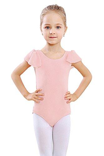 STELLE Girl's Cotton Ruffle Short Sleeve Leotard For Dance, Gymnastics and Ballet (Toddler/Little Girl/Big Girl)(85cm(US 2-3Y), Ballet Pink) -