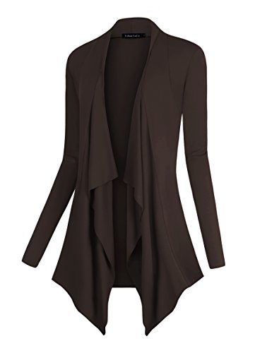 Urban CoCo Women's Drape Front Open Cardigan Long Sleeve Irregular Hem (L, Coffee)