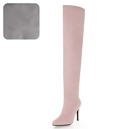 Boots High Colors 48 Pointed Pink Long Zipper Over Winter Woman Toe Haoliequan 33 Size Knee Shoes Cloth Heel 4 8SA4Bq8f