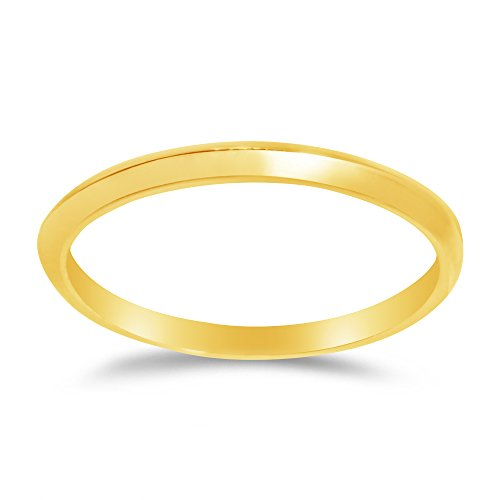(Size - 7 - Solid 14k Yellow Gold 2mm Plain Classic Traditional Knife Edge Anniversary Ring Wedding Band)