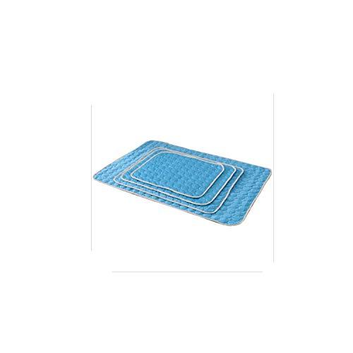 (Pet Dog Bed Mat Summer Cooling Pet Nest Floor Bed Puppy Cooling Mat Cool Pad Soft and Comfortable Kennel Mattress Dog Supplies,Blue,M-40x60cm)