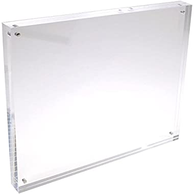 8x10 Clear Acrylic Picture Frame - 20% Thicker - 0.95 inch / 24mm Thick - Frameless Magnetic Acrylic Photo Frames - Desktop Only