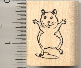 Dancing Hamster Rubber Stamp