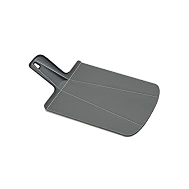 Joseph Joseph 60100 Chop2Pot Foldable Plastic Cutting Board 15-inch x 8.75-inch Chopping Board Kitchen Prep Mat with Non-Slip Feet 4-inch Handle Dishwasher Safe, Small, Gray