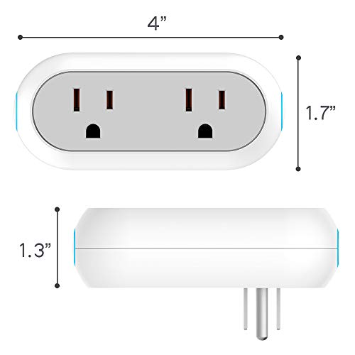 2-in-1 Wi-Fi Smart Plug Socket Dual Outlet Switch Wireless Works with Alexa Google Assistant IFTTT w/Energy Monitoring Timer Home, No Hub Required, 2 Pack by Mypre (Image #5)