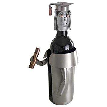 (Female Graduate Wine Bottle Holder H&K Steel Sculpture 6185-LI)