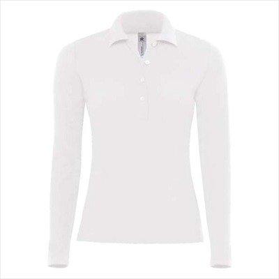B&C - Damen Langarm-Poloshirt 'Safran Pure LSL Woman' M,White