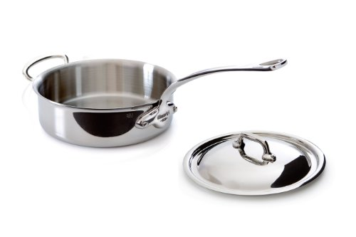 Mauviel Made In France M'Cook 5 Ply Stainless Steel 5211.29 5.8 Quart Saute Pan with Lid And Helper Handle, Cast Stainless Steel Handle