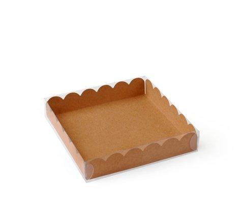 Set da 50 unit/à Scatola per biscotti o macarons con coperchio trasparente e base in color kraft XS