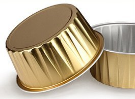 KEISEN 3 2/5'' 4.5oz 120ml 100/PK Disposable Aluminum Foil Cups for Muffin Cupcake Baking Bake Utility Ramekin Cup gold