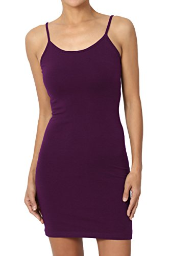 TheMogan Sleeveless Spaghetti Strap Long Cami Slip Short Mini Bodycon Dress