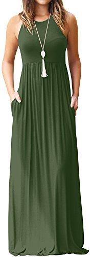 LunaJany Women's Sleeveless High Waist Bohemia Style Dress with Side Pockets