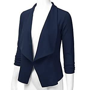 EIMIN Women's 3/4 Sleeve Blazer Open Front Office Work Cardigan Jacket (S-3XL)