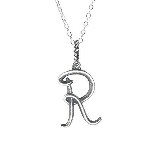 (Letter R Initial Charm Necklace - Gift Boxed - 925 Silver)