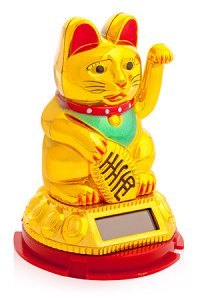 Giftman Beautiful Gold Solar Powered Maneki Neko Beckoning Lucky Money Cat 79119 by Giftman