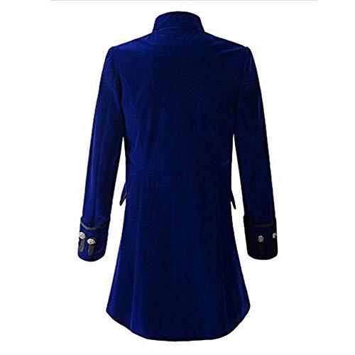 Lunga Steampunk Uniforme Uomo Blau Haidean Da Girocollo Gothic Moderna Giacca Casual Cappotto Tuxedo t6YxqxH