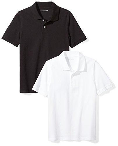 - Amazon Essentials Toddler Boys' Uniform Pique Polo, Black/Bright White, 3T