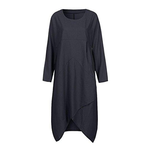 Long Smocked Seersucker (UOFOCO Women Maxi Dress Vintage Long Sleeve Tunic Baggy Long Plus Size)