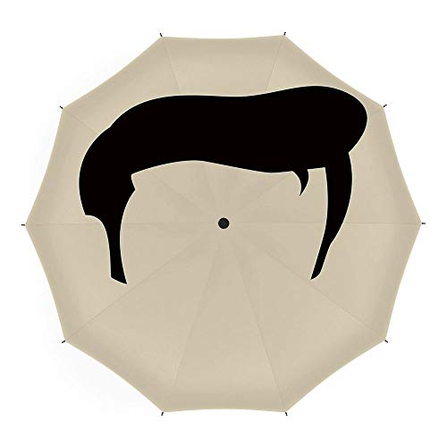 Folding Umbrella,Elvis Presley Decor,for Women Men Vinyl Anti-UV Lightweight 45 Inch,Simple Graphic of Rockn Roll Kings Hairstyle Cool Iconic Musician - Umbrella Elvis