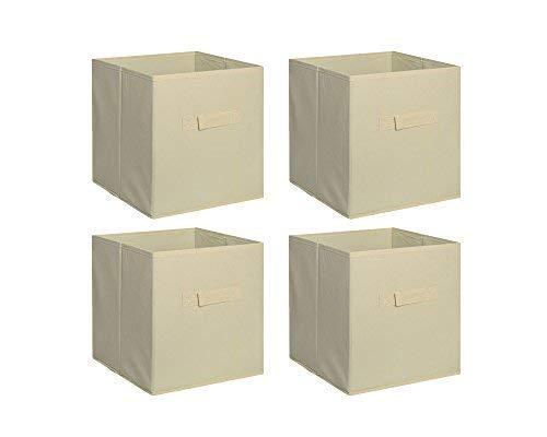 - New Home Storage Bins Organizer Fabric Cube Boxes Shelf Basket Drawer Container Unit (4, Beige)