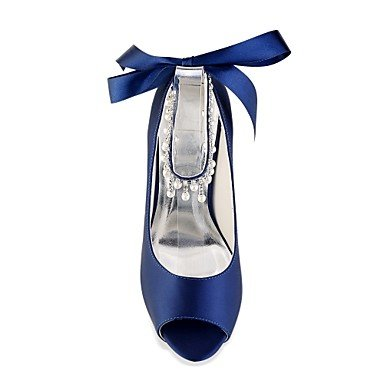 Summer Stiletto Wedding 4U Toe Women's Heel Spring Stretch Peep Basic Royal Satin Evening for Crystal Pump Shoes Pearl Dress purple dark Best Shoes Party wPYAFqxzz