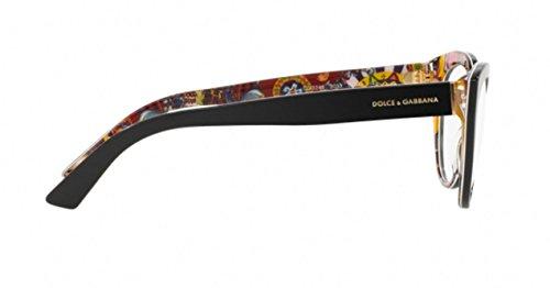 be2e15f42324f6 ... Dolce   Gabbana Montures de lunettes 3246 Pour Femme Rose Print   Black,  51mm Noir