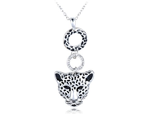 Alilang Womens Silver Tone Spotted Cheetah Head Face Ring Pendant Necklace