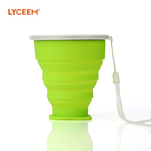 LYCEEM Portable Food-grade Silicone Collapsible Travel Cu...