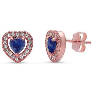 Jewelry Accessories Key Chain Bracelet Necklace Pendants Halo Rose Gold Plated Tanzanite Pave Cz Heart 925 Sterling Silver Earrings