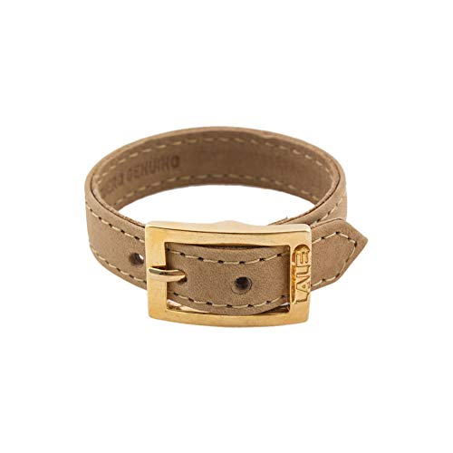 LALÉ Woman wrap Genuine laether Bracelet | Twists Once Around The Wrist | Ironwork Plated in Gold Buckle for Closure | Adjustable Size | Handmade Jewelry (Nude, 6.5) (Wrap Around Buckle)