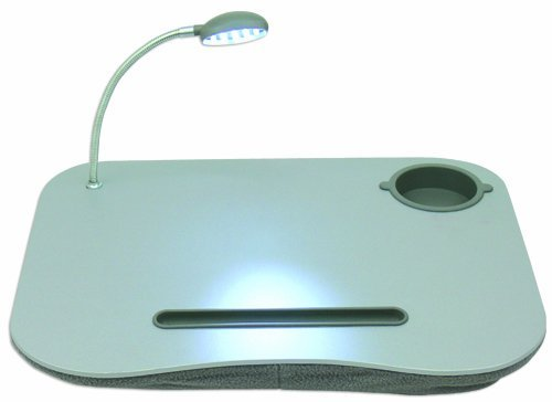 QVS Laptop Desk with Built-In Cushion, LED Light and Cup Holder