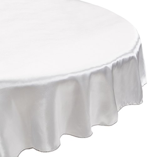 LinenTablecloth 108 Inch Round Satin Tablecloth Silver