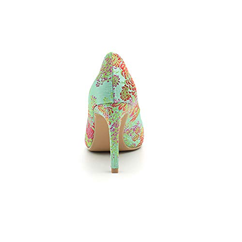 Print tacco Donna Colore Scarpe Dimensione Qiusa a Shoes Verde on con Verde High Heel Flower EU spillo 37 Slip Eq0XXwC