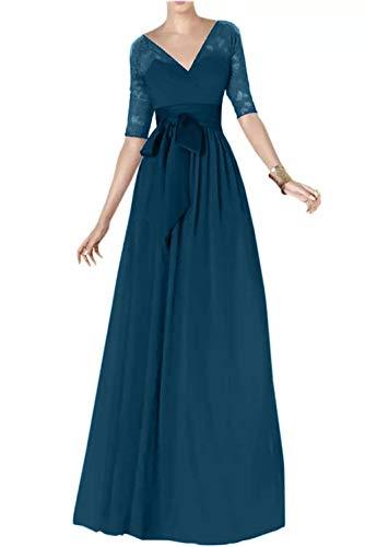 Blau Spitze Braut Marie Partykleider Langarm Traube Brautmutterkleider La Dunkel Chiffon Abendkleider Lang wP6q1PIp
