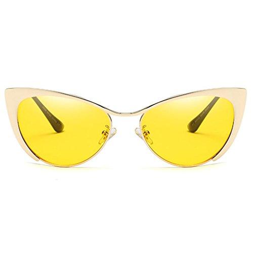 SoleilUltra Eye Flat Moderne Mince 100 Femmes Demi Metal de Les et pour Lenses Protection Mode Miroir Mirrored Filles Soleil Frame pour Lunettes de De Lunettes Les ZHHL Cat UV jaune Le Trame Femmes 7wRd67