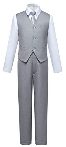 Boys Suits,Toddler Kids Boy Light Gray Suit Tuxedo Outfit Vest and Pants Set Size 3T