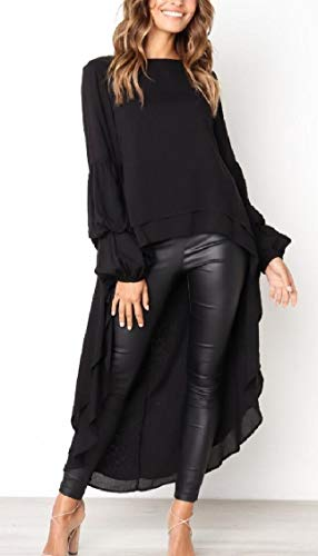 Low Lantern Jaycargogo Women's Long High Shirt Dress Irregular Sleeve Black Casual Hem EERw1q0