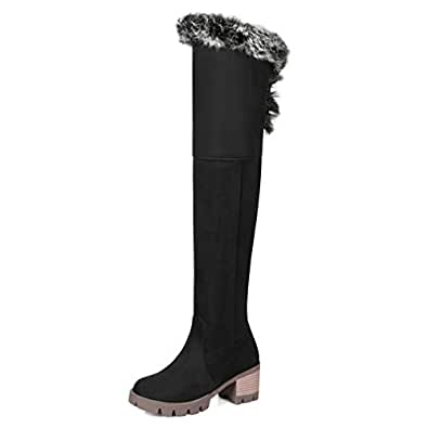 Amazon.com | Female Faux Fur On Top Over The Knee Boots