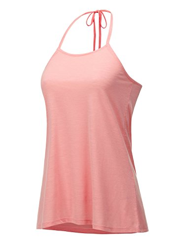 Tie Denim Halter (REGNA X Boho For Woman's Cute Sexy Wide Hem Stretch Pink Coral Deep Small Halterneck Sleevless Camisole Tank Tops,Small,Tie Back - Dark Pink)