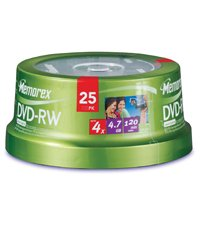 O MEMOREX O - Disk - DVD-RW - 4.7GB - Branded - 4x - 25/pkSpindle - Sold As 25 Per Pack by O MEMOREX O
