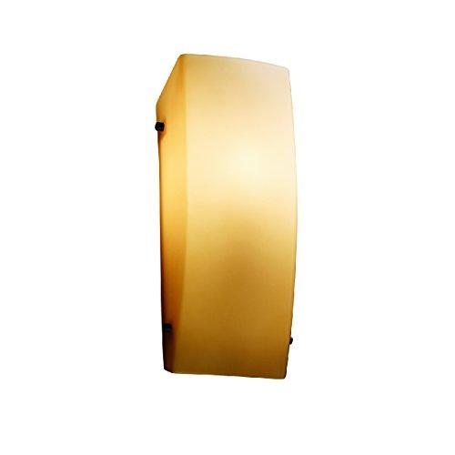 - Justice Design Group Lighting FSN-5135-ALMD-DBRZ-LED1-1000 Fusion - Finials ADA Rectangle Wall Sconce - Dark Bronze - Almond - LED