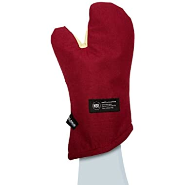 San Jamar KT0215 Kool-Tek Nomex Conventional Temperature Protection Oven Mitt, 15  Length, Red