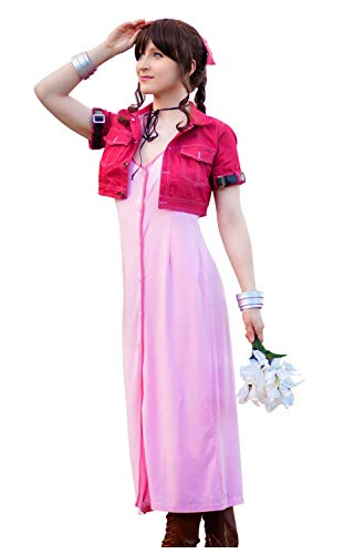 - DAZCOS US Size Adult Women's VII Aerith Gainsborough 1st Cosplay Costume (Women S) Red,Pink