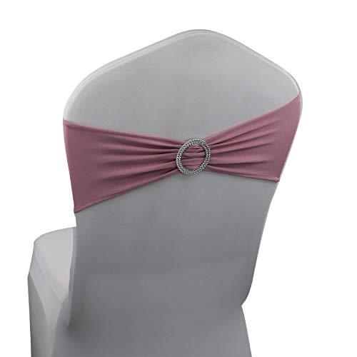 Blush Pink Spandex Chair Bands Sashes - 50 pcs Wedding Banquet Party Event Decoration Chair Bows Ties (Blush Pink, 50 pcs)