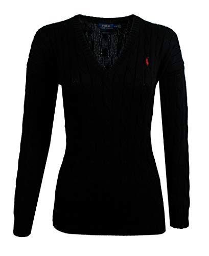 (RALPH LAUREN Polo Cable-Knit V-Neck Cotton Sweater (Large, Black (Red Pony)))