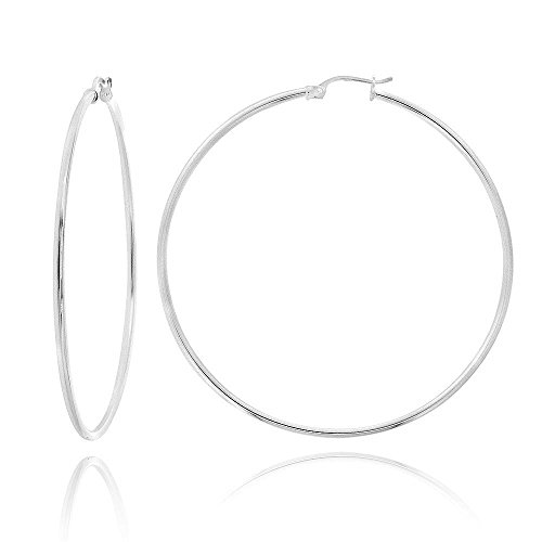 MCS Jewelry 14 Karat Yellow OR White Gold Large Classic Hoop Earrings (Diameter: 45 mm) (white-gold)