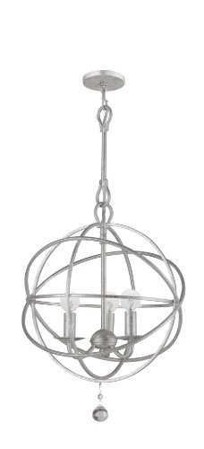 Crystorama 9225-OS Transitional Three Light Mini Chandeliers from Solaris collection in Pwt, Nckl, B S, Slvr.finish,