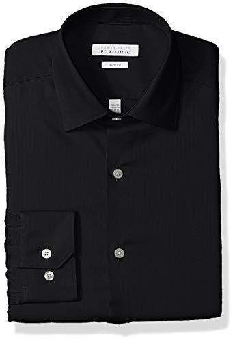 Perry Ellis Men's Slim Fit Wrinkle Free Dress Shirt, Black Herringbone, 16.5 34/35
