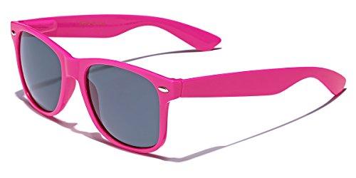 Classic Retro Fashion Sunglasses - Neon Frame with Dark Black Lens