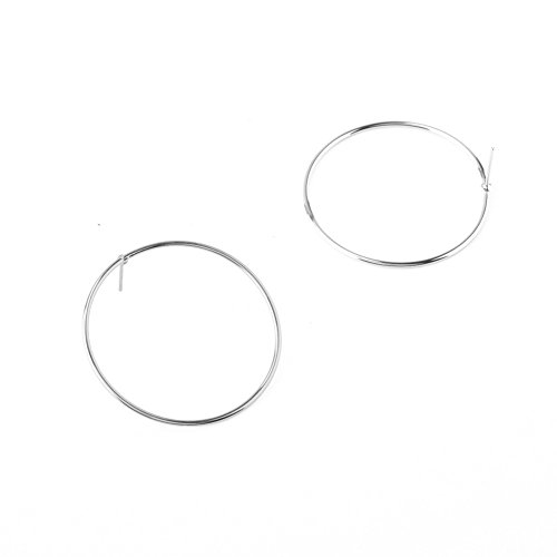 Sterling Silver & 18K Gold Plated Smooth hyperbole Round Big circular ring Women Dangle Earring (White Circular Earring)